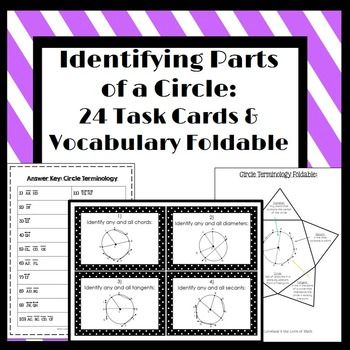 Included in this set are 20 task cards on identifying parts of a circle. Students will identify radii, diameters, chords, secants, and tangents. A student answer sheet and an answer key is also included. Also included is a simple foldable for students to fill out on identifying parts of a circle.