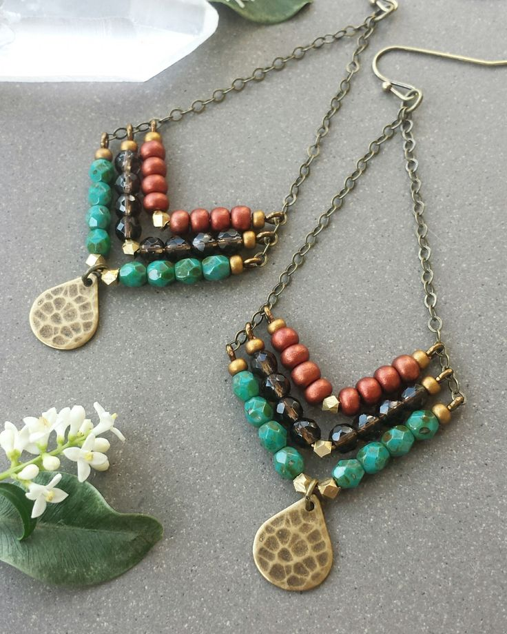 Beaded Gemstone Chevron EARRINGS in Brass >> Faceted Smoky Quartz, Turquoise and Metallic Red Glass Beads >> Earthy, Bold, Boho Style by MileHighBeads on Etsy https://www.etsy.com/listing/384929968/beaded-gemstone-chevron-earrings-in