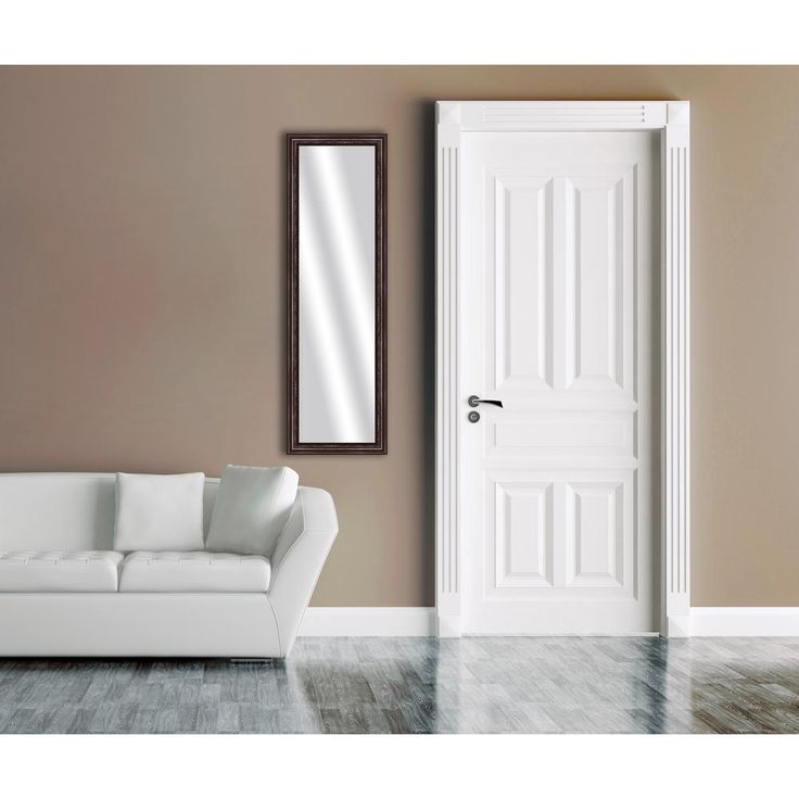 51.875 in. x 15.875 in. Brown Framed Mirror