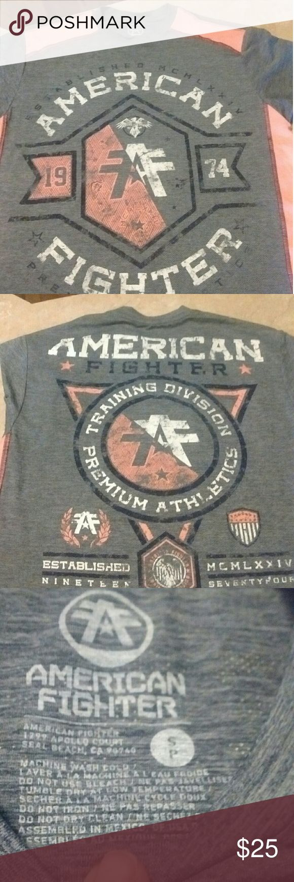 Men's American fighter t-shirt Light orange/grey/white American Fighter tshirt. Purchased at Buckle. My son quickly outgrew it. American Fighter Shirts Tees - Short Sleeve