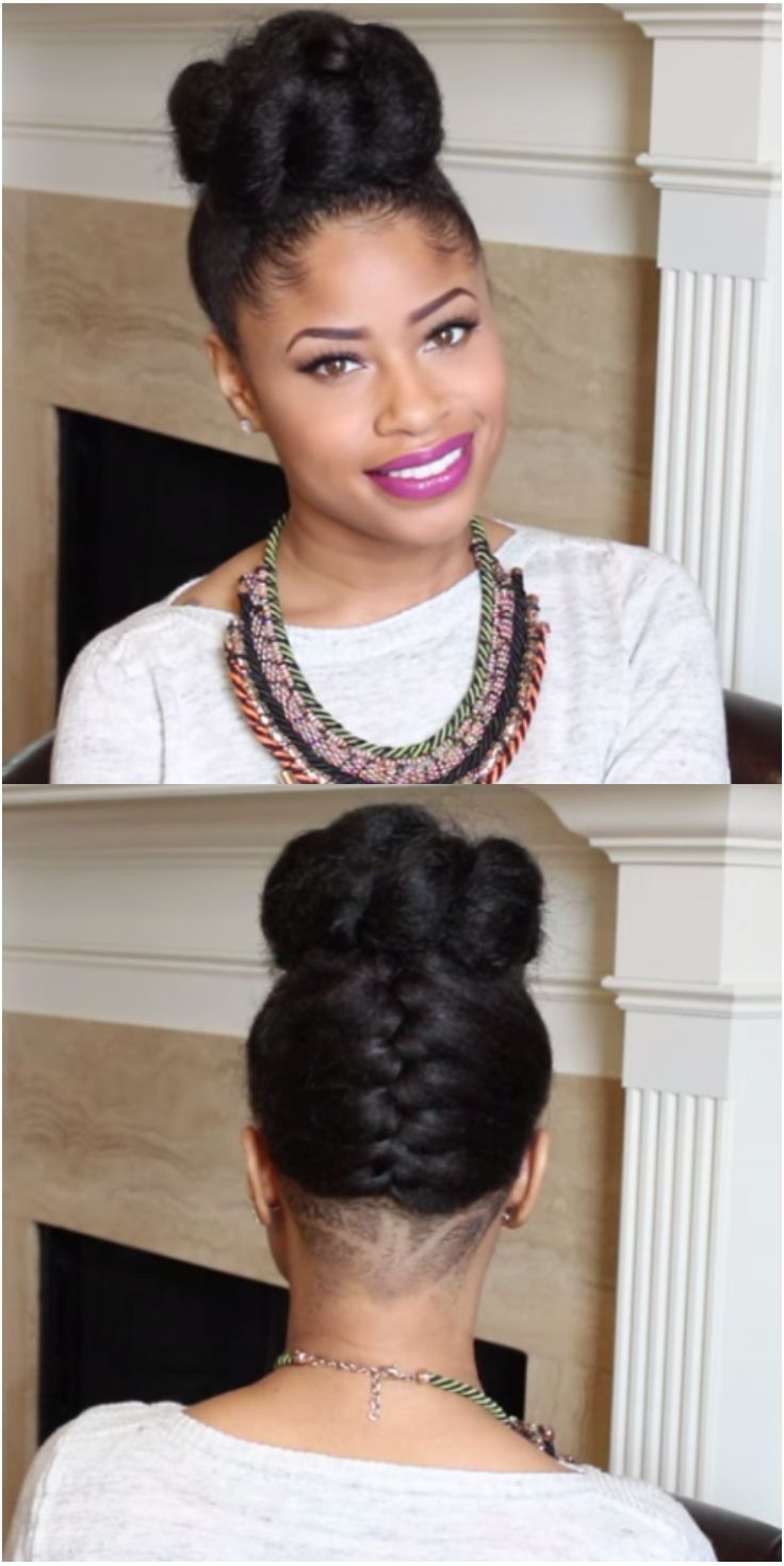 Natural hairstyles for short hair black women hair and tattoos - Natural Hair French Braided Bun With Undercut Using Kanekalon Hair Http Www