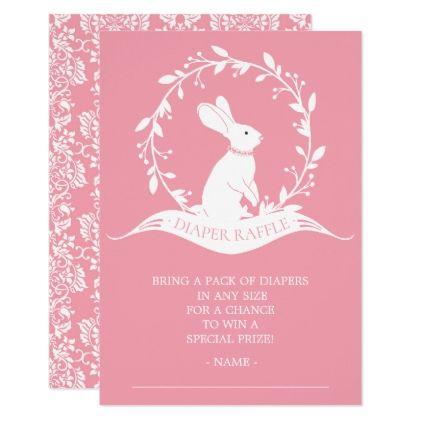 Bunny Girls Baby Shower Diaper Raffle Ticket Card - shower gifts diy customize creative