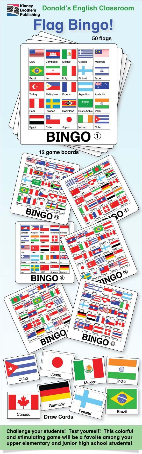 Flag Bingo is an entertaining activity utilizing 50 flag images and includes draw cards for use when playing in class.  This will become a mainstay in your collection of games and activities.  I've used this game for years in my ESL classroom where it's always a hit!  Challenge your students and test yourself!  Enjoy!  $2 on TpT  #ESL #ELL #EFL