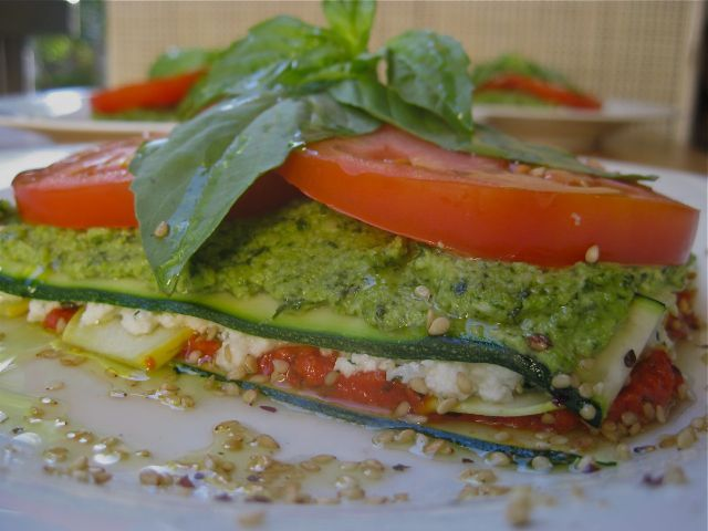 Raw Vegetable Lasagna - use mandolin sliced zucchini and fresh macadamia nut pesto (no dehydrator required)