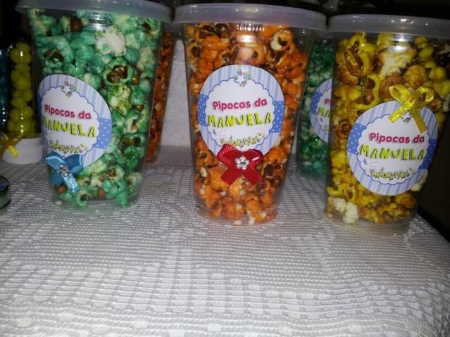 Pipoca Colorida e Personalizada Festa Infantil