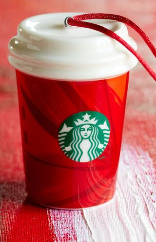 Cute Starbucks red cup ornament http://rstyle.me/ad/ukfnsnyg6