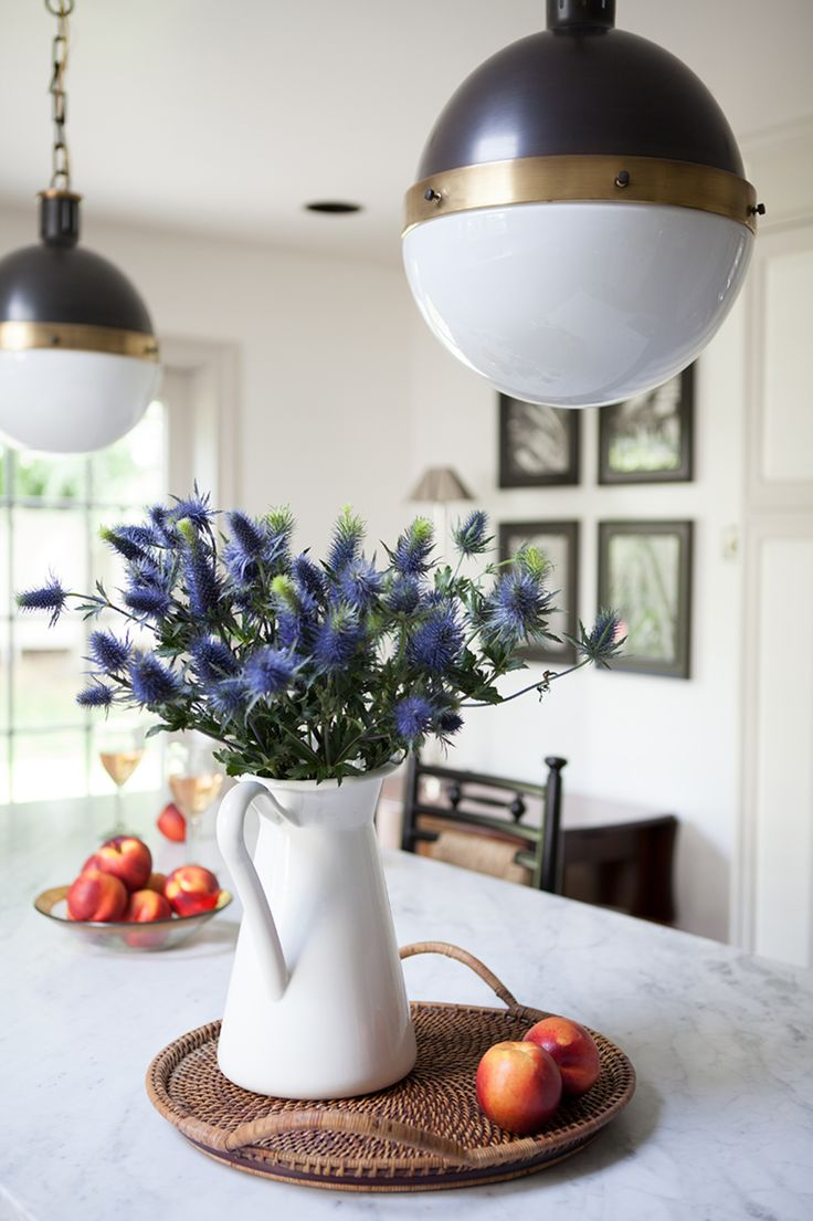 Home Tour: Traditional With A Fresh Modern Twist Traditional, Pitcher,  Vase, Arteriors Pendants, Woven Tray