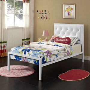 mia twin platform bed frame 5179 whi whi set by lexmod - Twin Platform Bed Frame