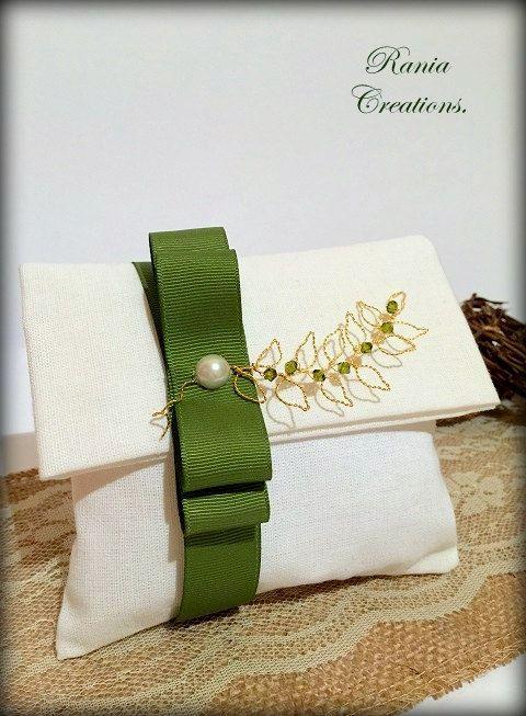 Linen Favor gift bag.Modern wedding favor bag.Linen gift bag.Linen bag.Olive branch gift bag.Bomboniera.Gift bag.Favor bag.Gift favor by RaniaCreations on Etsy