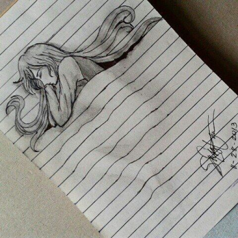 beau, beautiful, bed, dessin, draw, drawing, dreaming, fille, girl, sleep, sleeping, dessiner