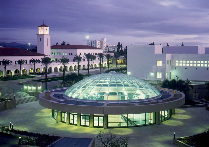 San Diego State University Love Library, exterior at night