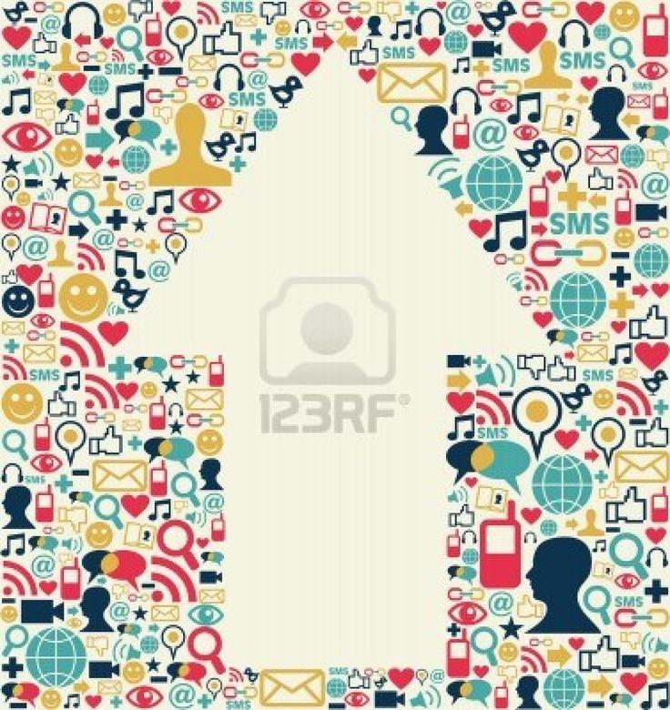 Sociales iconos de los medios de comunicación creado con la textura de fondo de la composición de flecha forma Foto de archivo