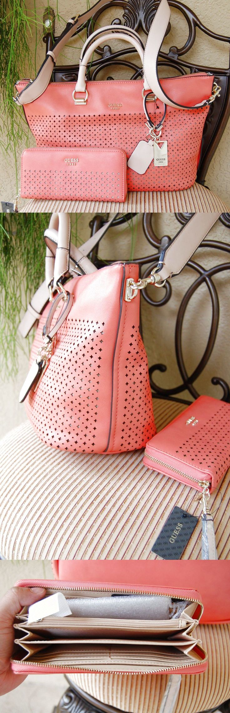 NWT Guess Juliana Satchel Handbag & Zip Around Wallet Set Color Coral $115.5