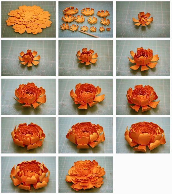 3D Spider Mum and Elle Tea Rose Paper Flowers