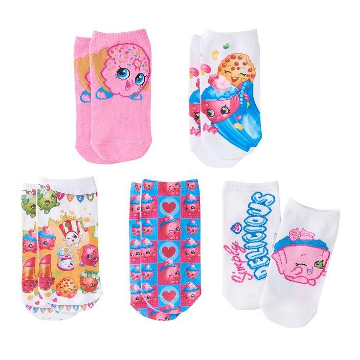 Girls Shopkins 5-pk. No-Show Socks, Size: 6-8 1/2, Pink