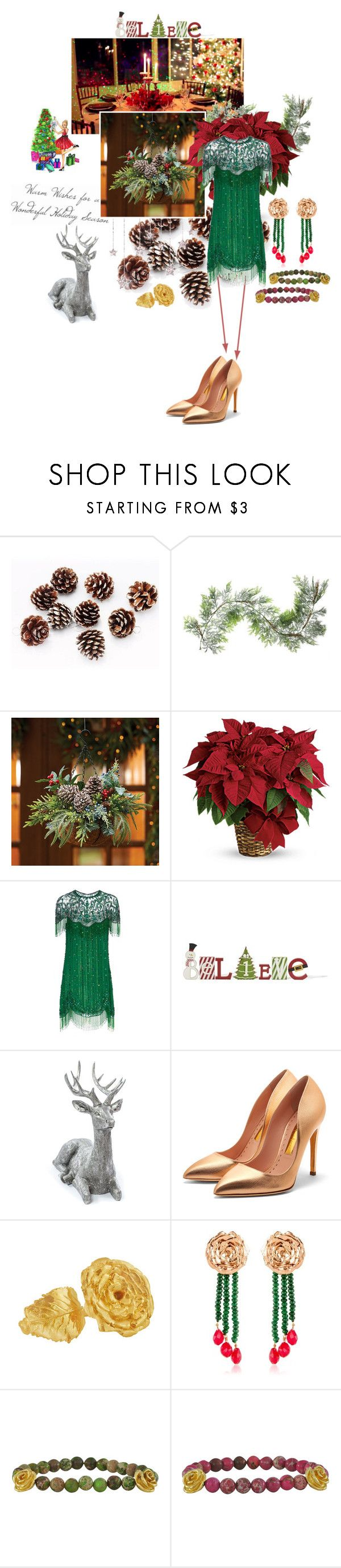 """2321.Holiday Seasons"" by sylviedupuywriter ❤ liked on Polyvore featuring Northlight Homestore, Improvements, Jenny Packham, Rupert Sanderson and LeiVanKash"