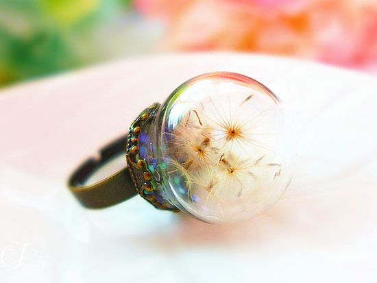 Dandelion Ring, Real Dandelion Jewellery, Large Statement Ring, Creative Promise Ring, Birthday Gift for Her, Anniversary Gift for wife