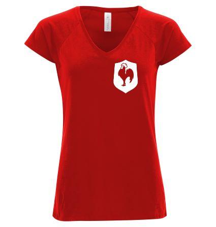 """T-shirt Femme col v profond B&C Rouge - T-shirt """"Coq français"""" #euro2016 #football #foot #tshirtpersonnalisé #comboutique"""