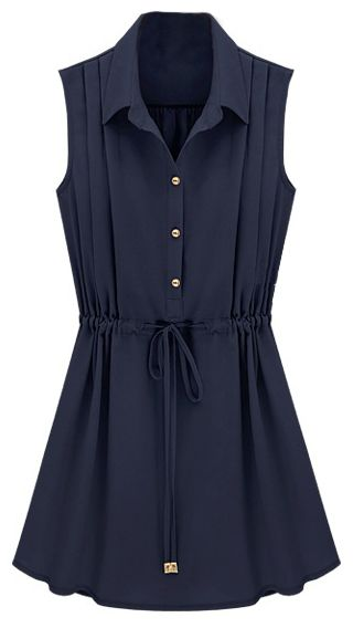 Navy Sleeveless Drawstring Waist Pleated Chiffon Shirt Dress - Sheinside.com