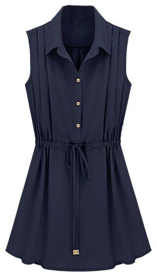 Pleated Chiffon Shirt Dress