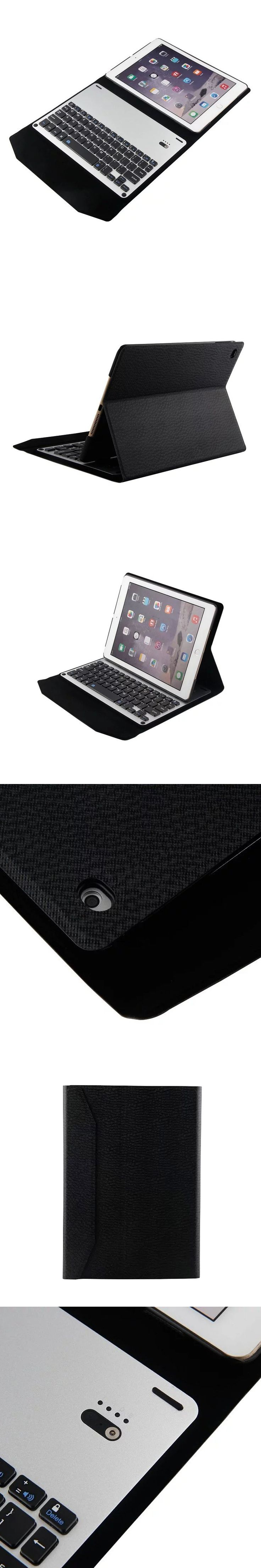 Slim Aluminum wireless Bluetooth Keyboard case For iPad air 2 case with keyboard flip stand magnetic