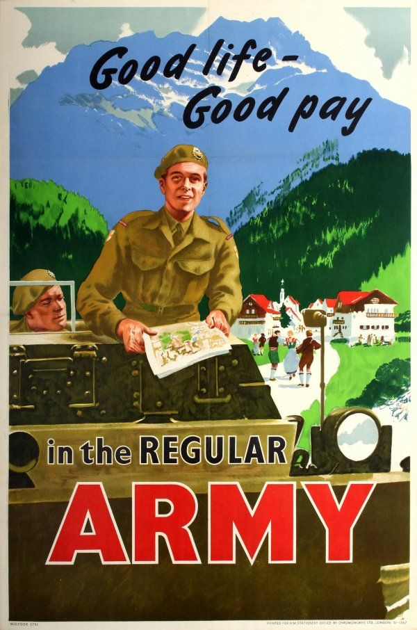 'Good life - Good pay in the Regular Army' | 1950s recruitment poster featuring idyllic vision of 'British Army of the Rhine' via @AntikBar - https://www.antikbar.co.uk/