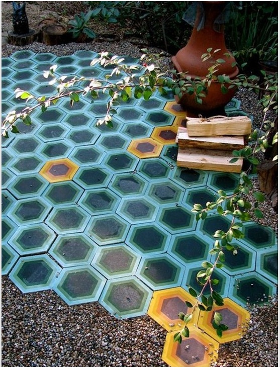 dwell house outside tile work and chimera airbnb ojai - Matchstick Tile Garden Decoration