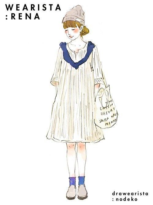 일본 패션 블로거들이 그린 코디 일러스트 39장 | 인스티즈