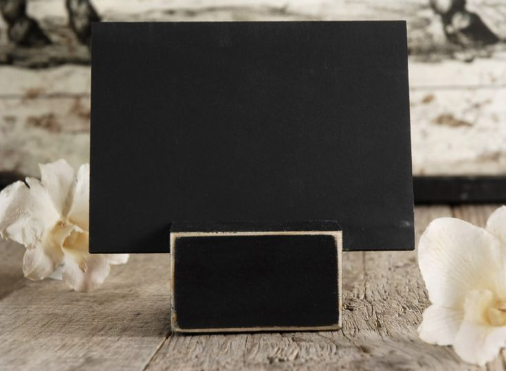 """7.99 SALE PRICE! Chalkboard Place Card Holder.. Wooden chalkboard place card with holder sign is 3.5"""" high and 5""""wide base is 1.5"""" x 2.5""""..."""