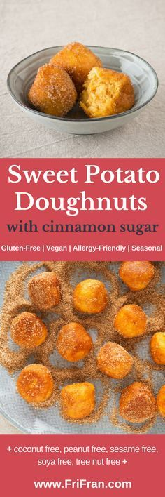 Gluten-Free, Vegan Sweet Potato Doughnuts with Cinnamon Sugar! Delicious, moreish and wonderful! Gluten-Free | Vegan | Allergy-Friendly | Seasonal and... + celery free, coconut free, garlic free, lupin free, mustard free, nightshade free, onion free, peanut free, sesame free, soya free, tree nut free +