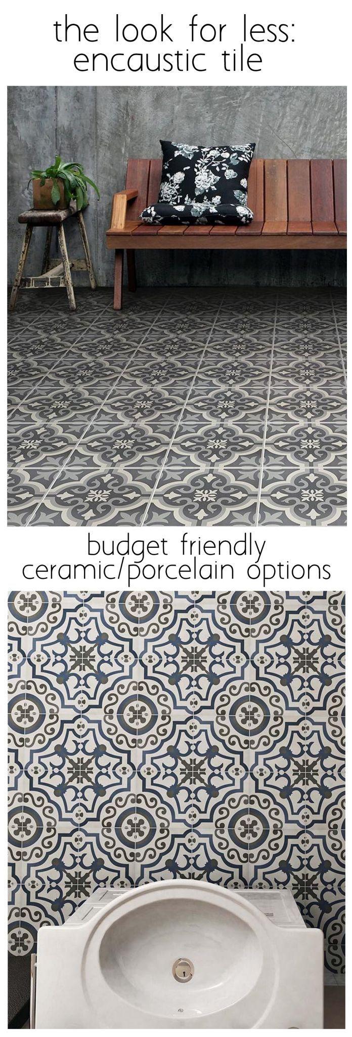 cement (encaustic) tile look for less