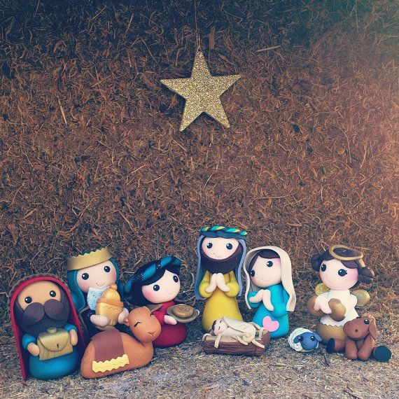 cute clay nativity - nativity set -creme de la gems - holy family - polymer clay…