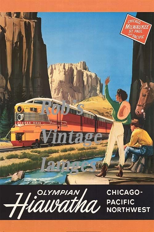 "Milwaukee Road Olympian Hiawatha Railroad Train Poster 1940-50s Art  Deco  8 x 11.5"" Train CMSP"