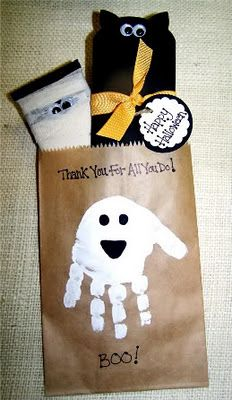 Huge list of Halloween crafts including Handprint and Footprint Arts & Crafts: Halloween handprint/footprint art