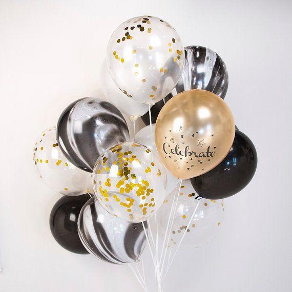 Gold & Black Marble Confetti Balloon Bouquet Wedding