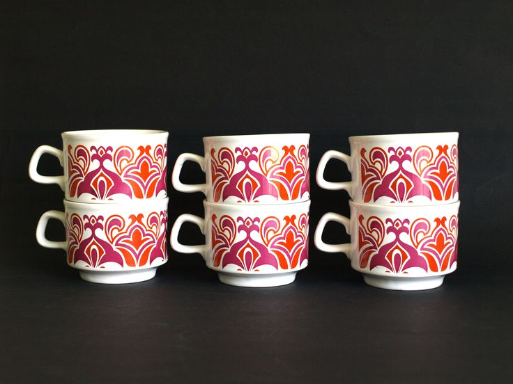 Staffordshire Potteries Pink Orange Flower Power Cups - Vintage Retro Psychedelic Mod Teacup Set of Six Made in England Funky! by FunkyKoala on Etsy