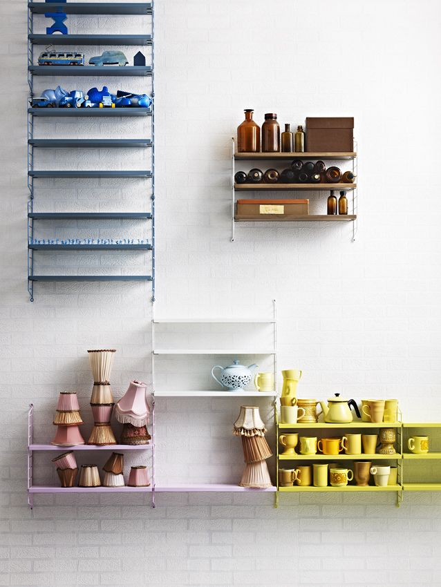 String Pocket Multi   Blue, Yellow, White, Walnut And Pink   String Shelving