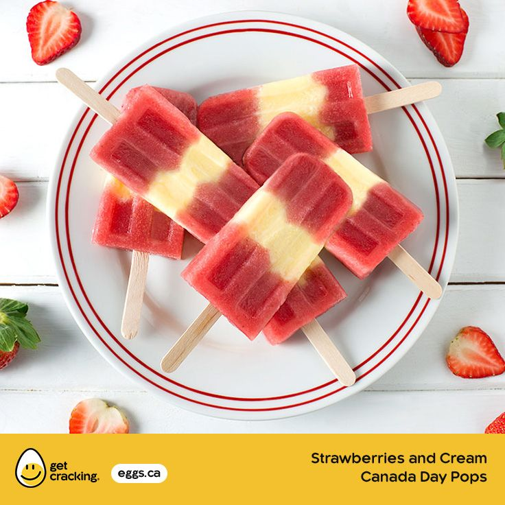 Strawberries and Cream Canada Day Pops | Eggs.ca | #GetCracking #Eggs