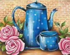Pano de copa/prato pintado a mao