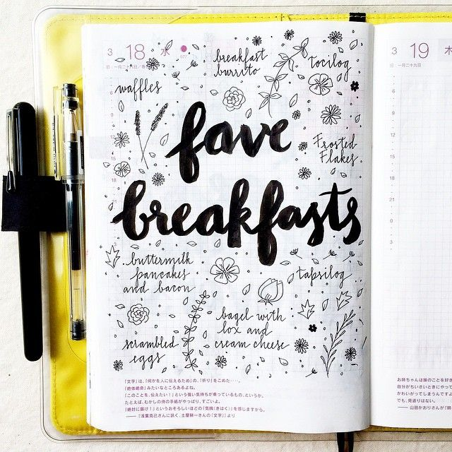 Still in food mode, what are your favorite breakfasts? ❤️ #hobonichi #journal #journaling #journalingprompts #artjournal #artjournaling #filofax #planner #diary #notebook #mtn #midoritravelersnotebook #midori #travelersnotebook #doodles #doodling #handwriting #handlettering #lettering #calligraphy #typography #type #scrapbooking #stationery #vscocam #dailyjournal