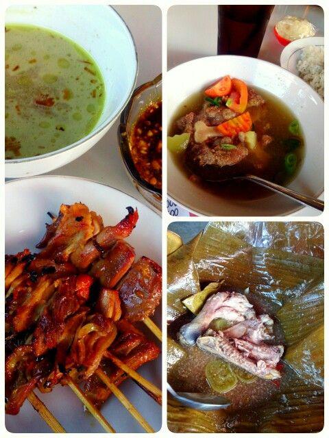 Indonesian food: sate kuah, sop buntut, and garang asem...