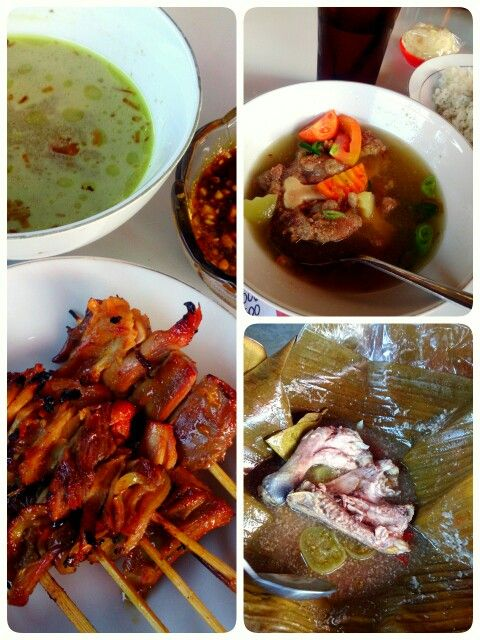 Indonesian food: sate kuah, sop buntut, and garang asem...