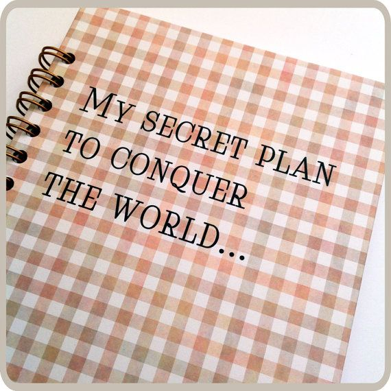 My secret plan...spiral notebook. by Fun2Art on Etsy