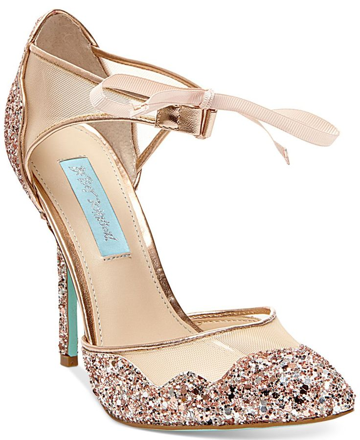 The Stela evening sandals by Blue by Betsey Johnson update your look with sparkling style and an ultra-feminine ribbon tie at the ankle. | Imported | Glitter upper | Almond closed-toe evening sandals