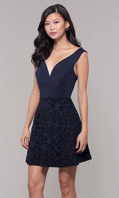 5605c56cbcb V-Neck Short Wedding-Guest Dress with Velvet Skirt
