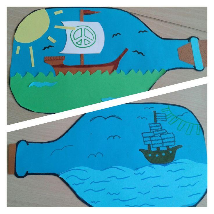 Dezetekenopdracht heb ik uitgevoerd met kinderen uit groep 7. Hieronder lees je er meer over! Je hebt het volgende nodig: – Voorbeeld van een fles – Donker- en lichtblauw papier voor de fles en zee – Bruin papier voor de kurk (ik gaf ze 1/4 van een A4-tje) – Overig gekleurd papier voor de details. …