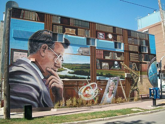 "The Murals of Winnipeg, Manitoba, Canada: ""Bill Norrie: Legacy of Leadership"" located at 538 Ellice Ave in Winnipeg, MB"