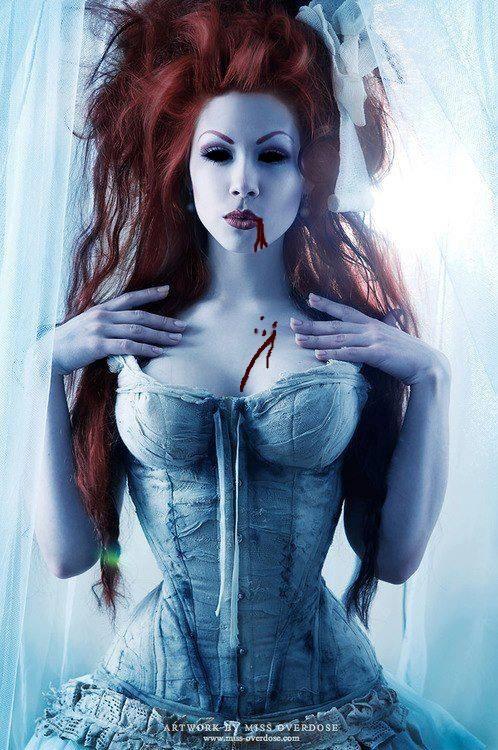 Gothic pale redhead sucking