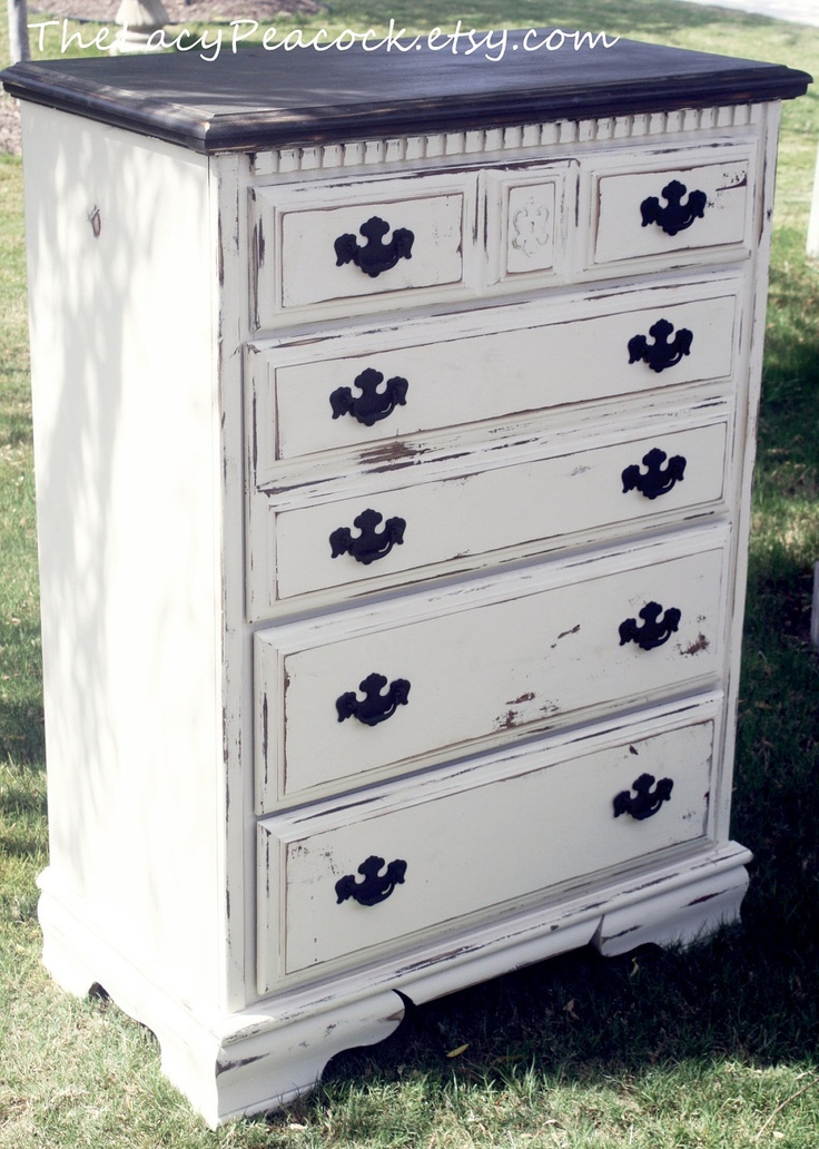 Distressed Black And White Tall Dresser Sewing Machine