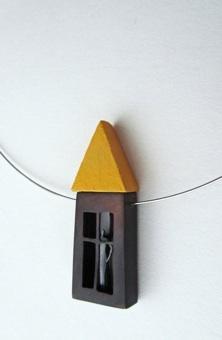 Little Yellow-roof House Neckpiece by Gillian Harvie